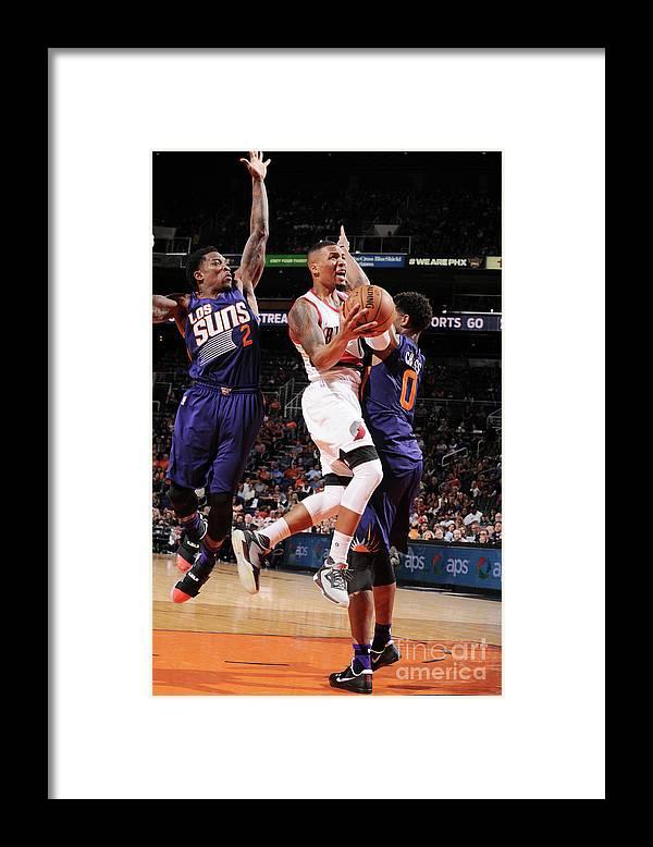 Nba Pro Basketball Framed Print featuring the photograph Damian Lillard by Barry Gossage