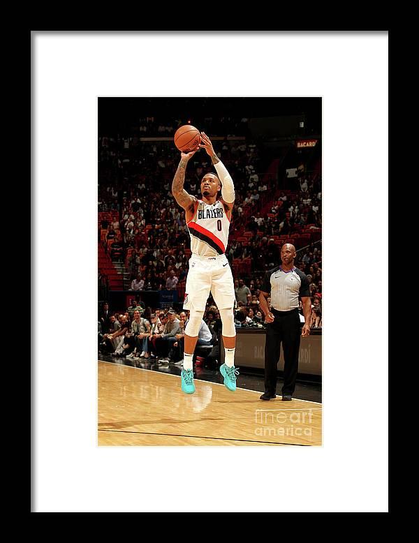 Nba Pro Basketball Framed Print featuring the photograph Damian Lillard by Oscar Baldizon