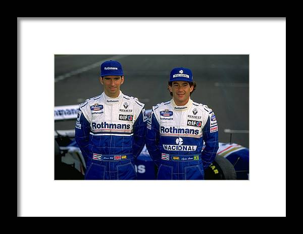 Driver Framed Print featuring the photograph Damon Hill and Ayrton Senna by Mike Hewitt