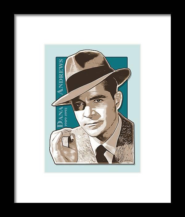 Dana Andrews Framed Print featuring the digital art Dana Andrews Pop Art by Greg Joens