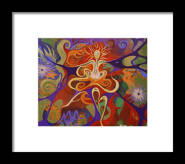 Woman Sitting In Flowy Colors - Meditative And Imaginative Framed Print featuring the painting Dance Of Color by Michelle Oravitz