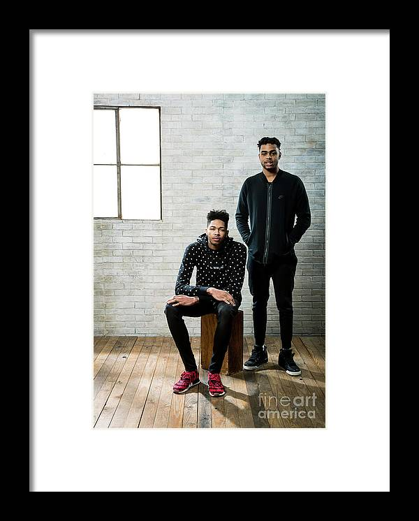 Nba Pro Basketball Framed Print featuring the photograph D'angelo Russell and Brandon Ingram by Nathaniel S. Butler
