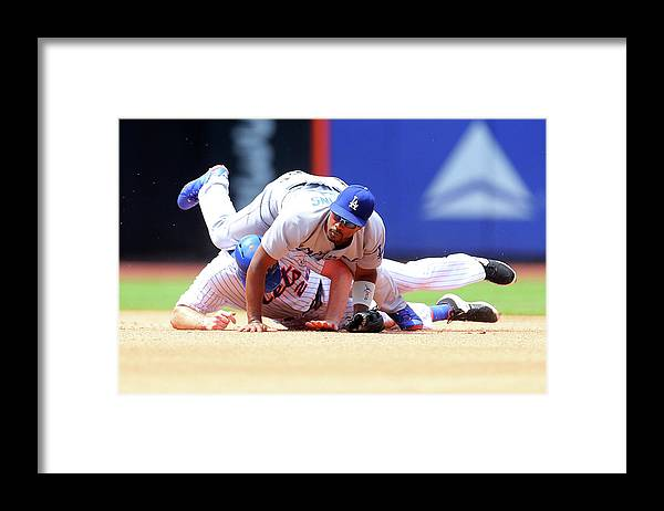 Double Play Framed Print featuring the photograph Daniel Murphy and Jimmy Rollins by Mike Stobe