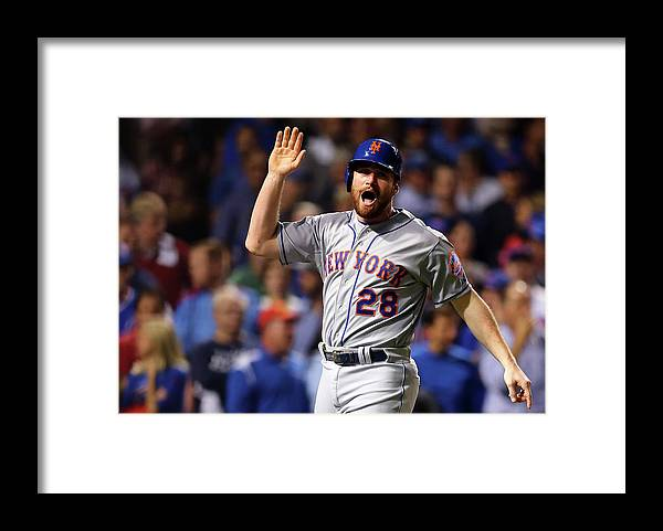 Second Inning Framed Print featuring the photograph Daniel Murphy, Lucas Duda, and Travis Wood by Elsa