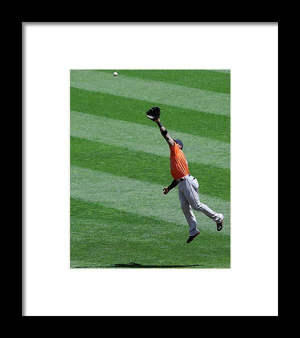 American League Baseball Framed Print featuring the photograph Danny Santana and Jonathan Villar by Hannah Foslien