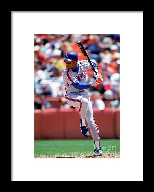 Sports Bat Framed Print featuring the photograph Darryl Strawberry by Michael Zagaris