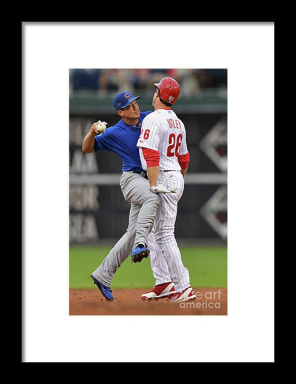 Double Play Framed Print featuring the photograph Darwin Barney and Chase Utley by Drew Hallowell