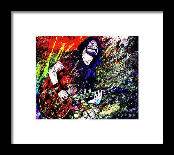 Dave Grohl Framed Print featuring the mixed media Dave Grohl Art by Ryan Rock Artist