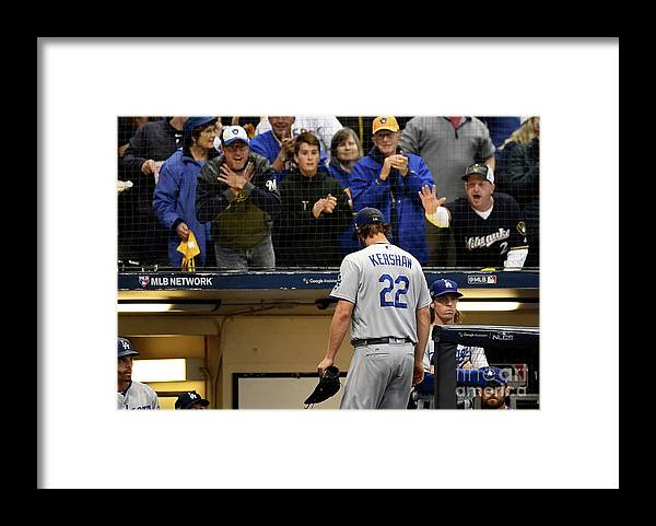 Three Quarter Length Framed Print featuring the photograph Dave Roberts And Clayton Kershaw by Stacy Revere
