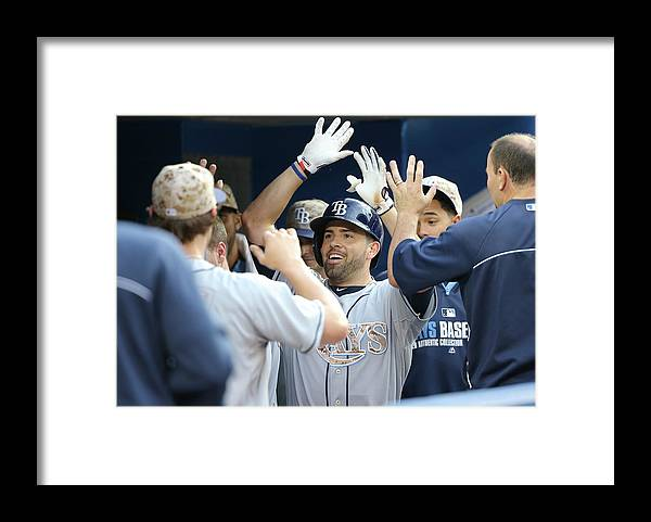 American League Baseball Framed Print featuring the photograph David Dejesus by Tom Szczerbowski