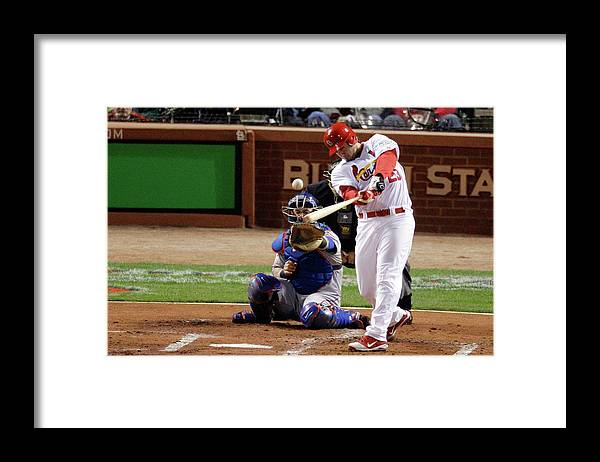 St. Louis Cardinals Framed Print featuring the photograph David Freese by Rob Carr