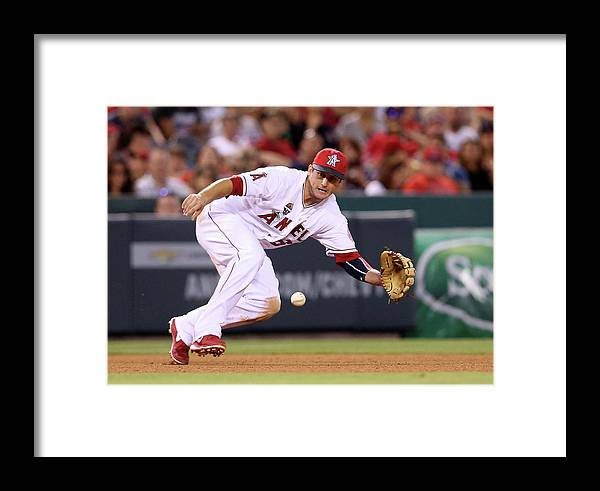 American League Baseball Framed Print featuring the photograph David Freese by Stephen Dunn
