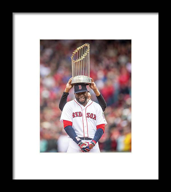 People Framed Print featuring the photograph David Ortiz and Pedro Martinez by Billie Weiss/boston Red Sox