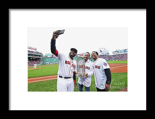 American League Baseball Framed Print featuring the photograph David Ortiz and Pedro Martinez by Maddie Meyer