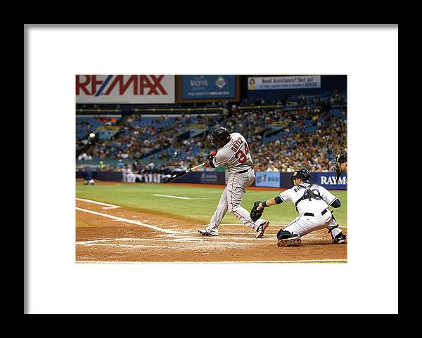 Baseball Catcher Framed Print featuring the photograph David Ortiz by Brian Blanco