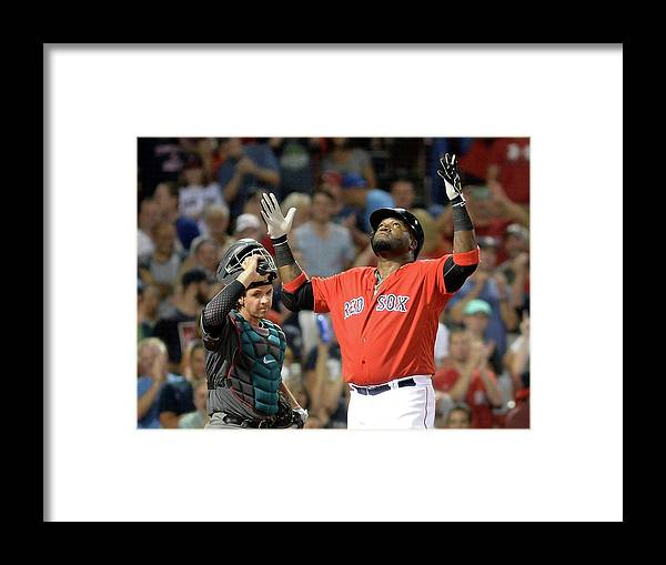 American League Baseball Framed Print featuring the photograph David Ortiz by Darren Mccollester