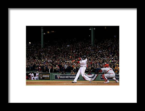 Game Two Framed Print featuring the photograph David Ortiz by Rob Carr