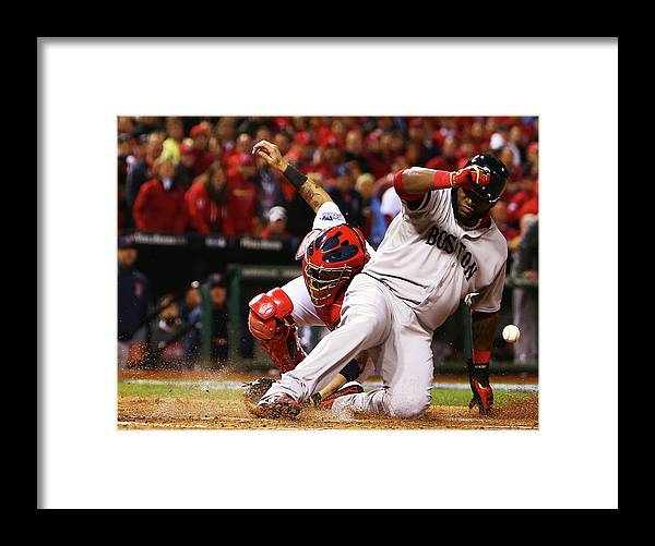 American League Baseball Framed Print featuring the photograph David Ortiz, Stephen Drew, and Lance Lynn by Dilip Vishwanat