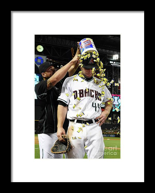 Three Quarter Length Framed Print featuring the photograph David Peralta and Paul Goldschmidt by Norm Hall