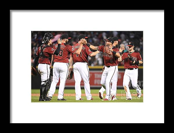 People Framed Print featuring the photograph David Peralta, Paul Goldschmidt, and Chris Owings by Jennifer Stewart