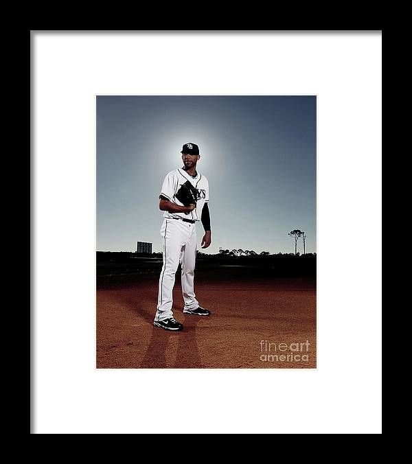 Media Day Framed Print featuring the photograph David Price by Nick Laham