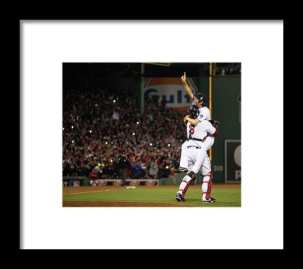 Playoffs Framed Print featuring the photograph David Ross and Koji Uehara by Brad Mangin
