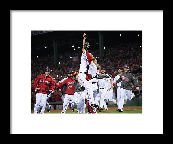 Playoffs Framed Print featuring the photograph David Ross and Koji Uehara by Ron Vesely