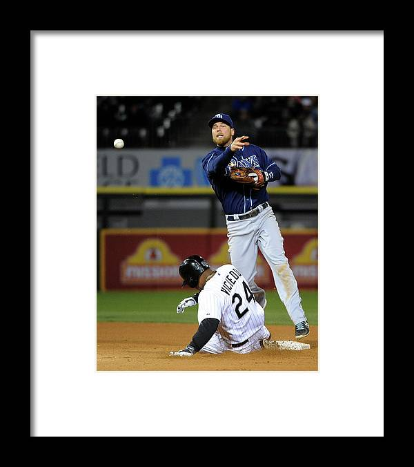 American League Baseball Framed Print featuring the photograph Dayan Viciedo and Ben Zobrist by David Banks