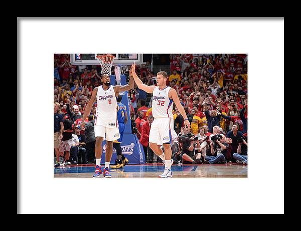 Playoffs Framed Print featuring the photograph Deandre Jordan and Blake Griffin by Andrew D. Bernstein