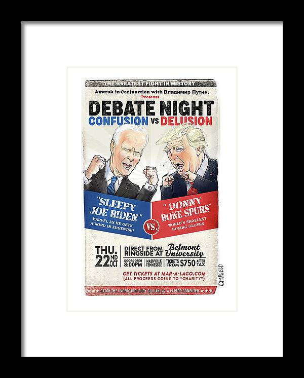 Captionless Framed Print featuring the painting Debate Night Confusion vs Delusion by Jason Chatfield and Scott Dooley
