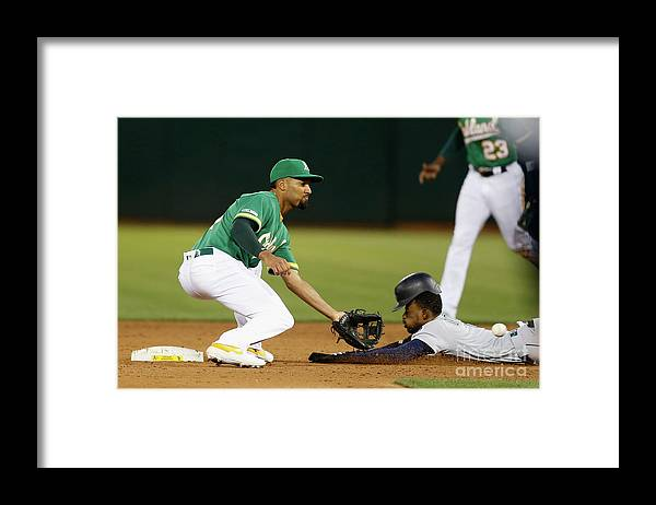 People Framed Print featuring the photograph Dee Gordon and Marcus Semien by Lachlan Cunningham