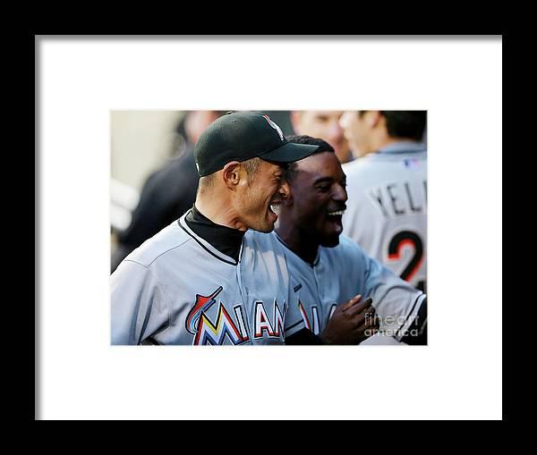 American League Baseball Framed Print featuring the photograph Dee Gordon, Ichiro Suzuki, and Giancarlo Stanton by Elsa