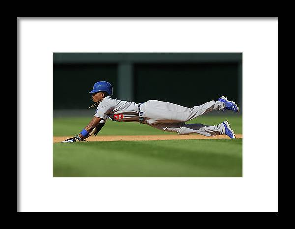Los Angeles Dodgers Framed Print featuring the photograph Dee Gordon by Justin Edmonds