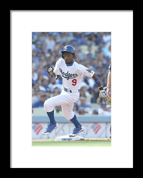 Second Inning Framed Print featuring the photograph Dee Gordon by Stephen Dunn