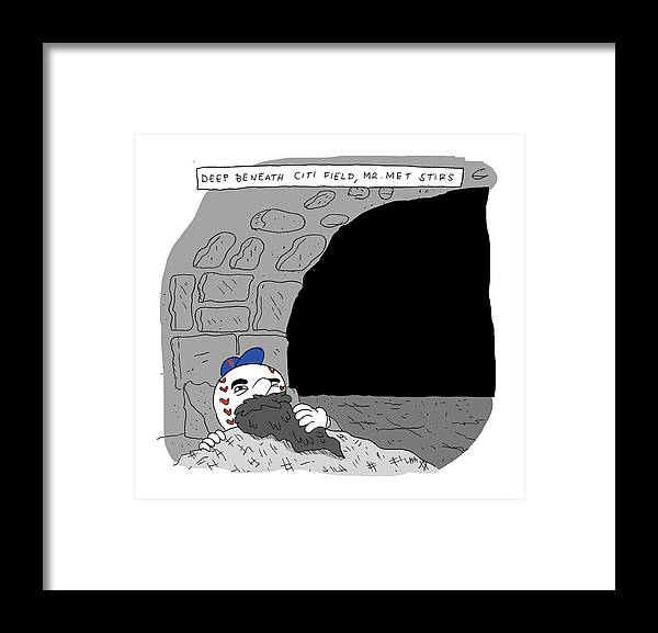 Deep Beneath Citi Field Framed Print featuring the drawing Deep Beneath Citi Field by Lucas Adams