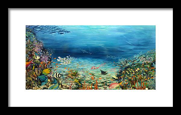 Ocean Painting Undersea Painting Coral Reef Painting Caribbean Painting Calypso Reef Painting Undersea Fishes Coral Reef Blue Sea Stingray Painting Tropical Reef Painting Tropical Painting Framed Print featuring the painting Deep Blue Dreaming by Karin Dawn Kelshall- Best