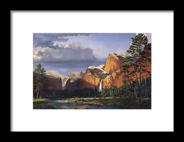 American Framed Print featuring the painting Deer Meadow Mountains Western stream Deer waterfall Landscape Oil Painting stormy sky snow scene by Walt Curlee