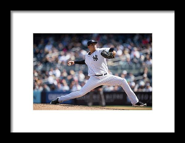 American League Baseball Framed Print featuring the photograph Dellin Betances by Rob Tringali