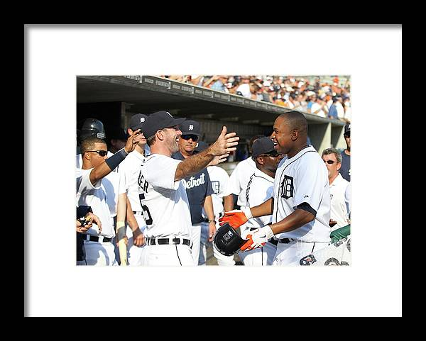 American League Baseball Framed Print featuring the photograph Delmon Young, Justin Verlander, and Miguel Cabrera by Leon Halip