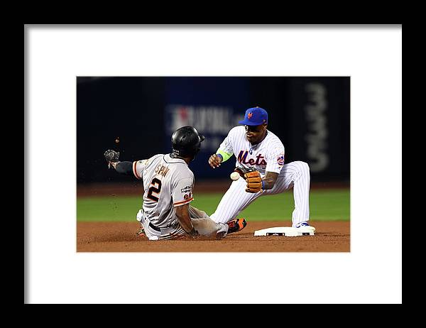 Playoffs Framed Print featuring the photograph Denard Span by Alex Trautwig