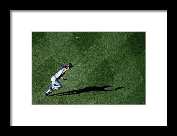 American League Baseball Framed Print featuring the photograph Denard Span and Chris Rusin by Rob Carr