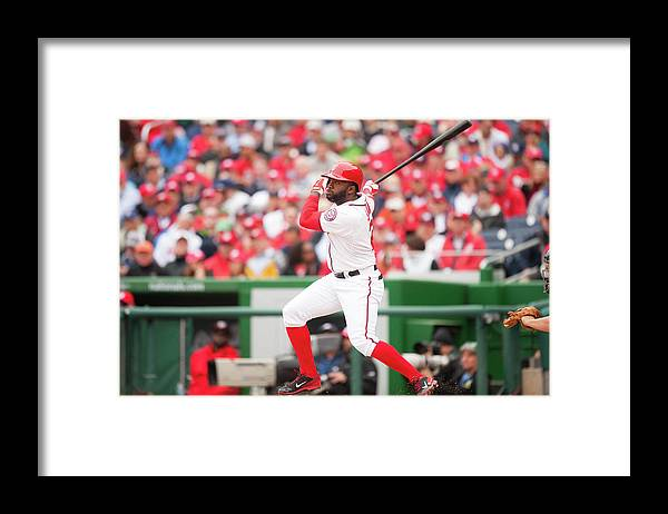 National League Baseball Framed Print featuring the photograph Denard Span by Mitchell Layton
