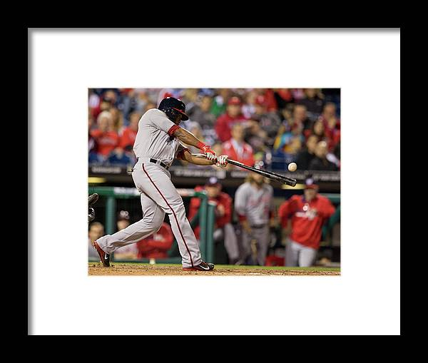 Citizens Bank Park Framed Print featuring the photograph Denard Span by Mitchell Leff