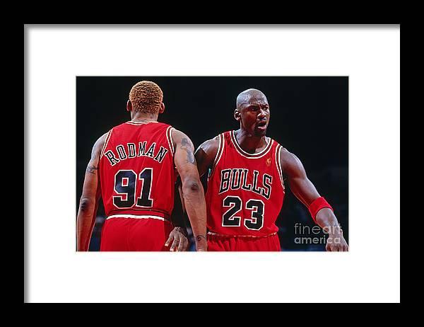 Chicago Bulls Framed Print featuring the photograph Dennis Rodman and Michael Jordan by Andrew D. Bernstein