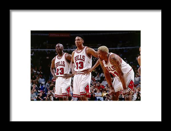 Chicago Bulls Framed Print featuring the photograph Dennis Rodman, Scottie Pippen, and Michael Jordan by Andrew D. Bernstein