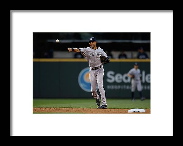 Playoffs Framed Print featuring the photograph Derek Jeter and Brad Miller by Otto Greule Jr