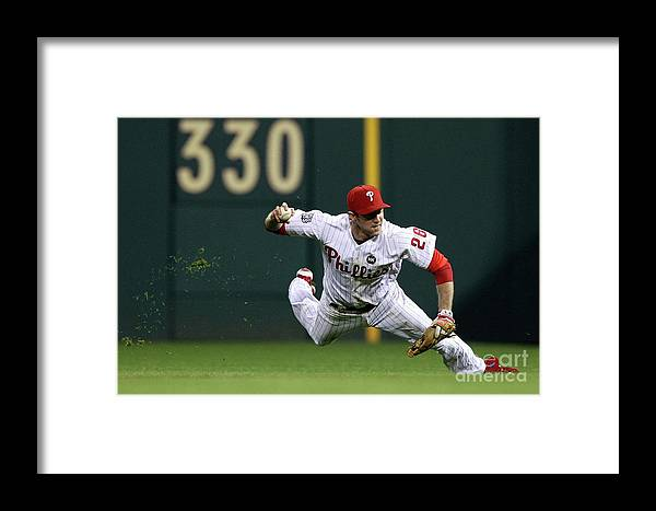 People Framed Print featuring the photograph Derek Jeter And Chase Utley by Al Bello