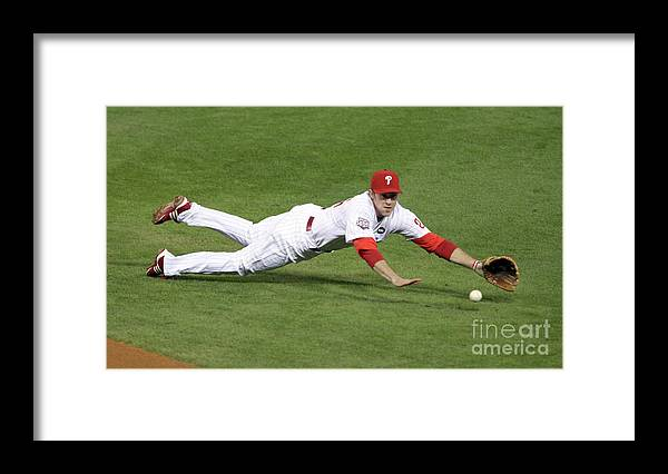 People Framed Print featuring the photograph Derek Jeter and Chase Utley by Brad Mangin