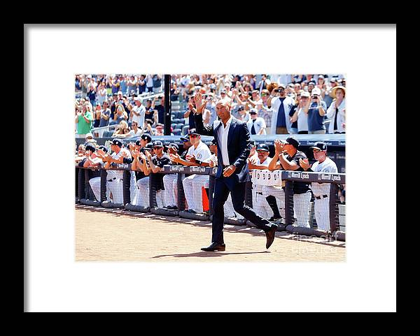 People Framed Print featuring the photograph Derek Jeter and Jorge Posada by Jim Mcisaac
