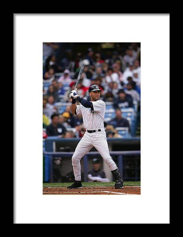 People Framed Print featuring the photograph Derek Jeter by Chris Mcgrath